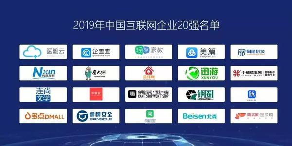 2019中国互联网企业20强名单